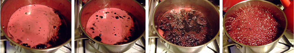 Bringing the elderberry vinegar sugar mix to a rolling boil.