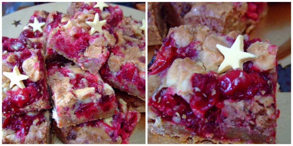 Cranberry and white chocolate blondies