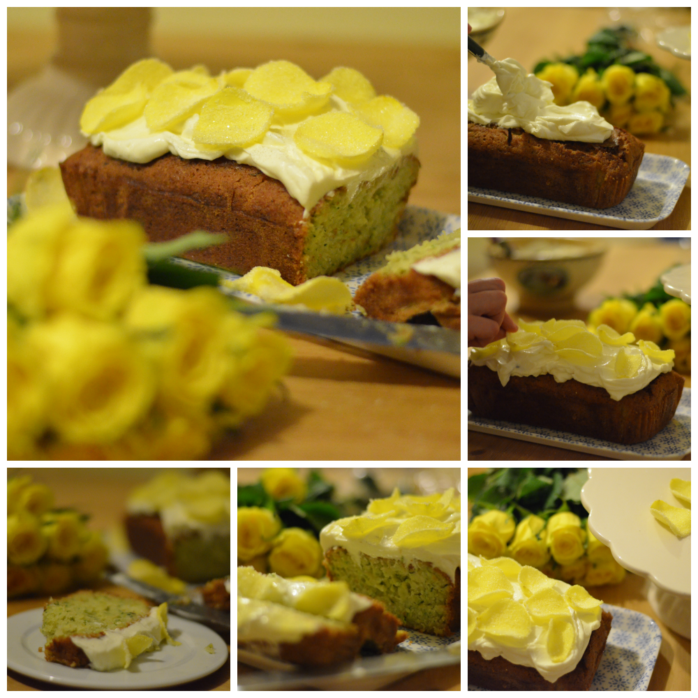 Sliced courgette cake