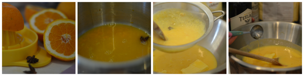 Stages of making orange, whiskey and star anise curd